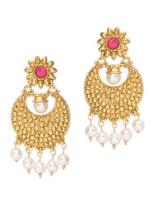 Royal Bling Imprenable Pink Pearl Drop Earrings For Women