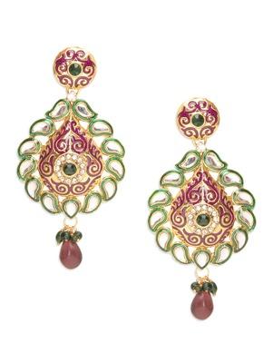 Opulent Paisley Green Pink Earrings