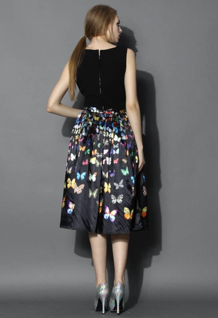 Buy New Black Crepe Printed Designer Party Wear Skirt Online