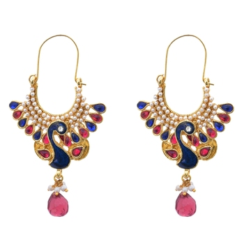Peacock Posy Royal Fuschsia Pearly Earrings