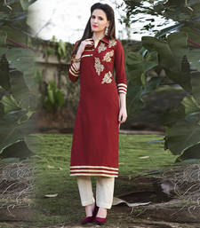 Maroon Embroidered Cotton Stitched Kurti