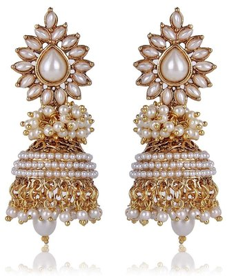 Blooming Pearly Glorious Glamour Jhumka