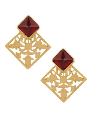 Marsala Filigree Square Earrings