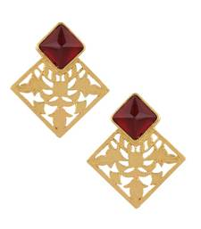 Buy Marsala Filigree Square Earrings danglers-drop online