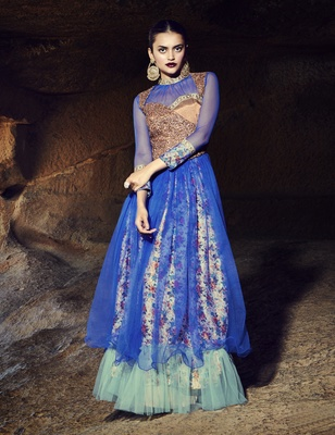 Blue art silk embroidered semi stitiched party wear gown