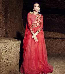 Red net embroidered semi stitiched party wear gown