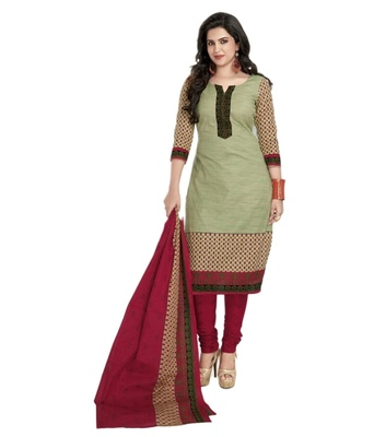 Maroon and light green crap printed unstitched salwar with dupatta