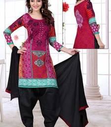 Pink printed cotton unstitched salwar with dupatta