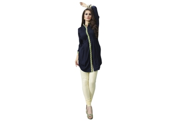 Navy blue rayon embroidered sititched kurti