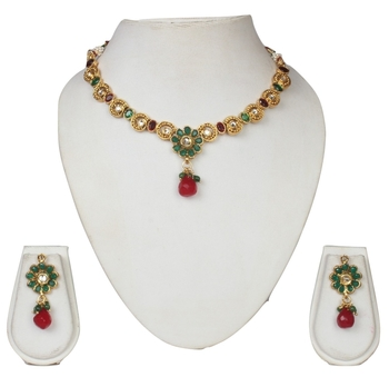 Cubic zirconia gold plated necklace sets