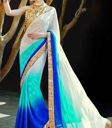 Buy white embroidered art silk saree With Blouse silk-saree online