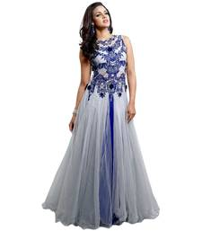 Blue net embroidered unstitched gown shop online