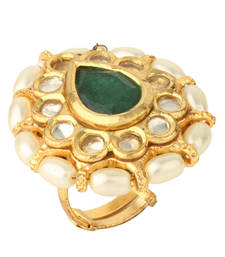 Buy PURE Collection Ethnic Kundan Adjustable Size Emerald Green Ring For Women Ring online