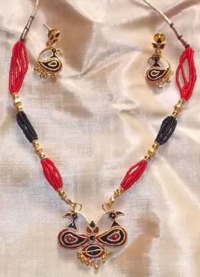 Handmade Indian Assamese Gold Jewellery - Lokaparo-Black and Red
