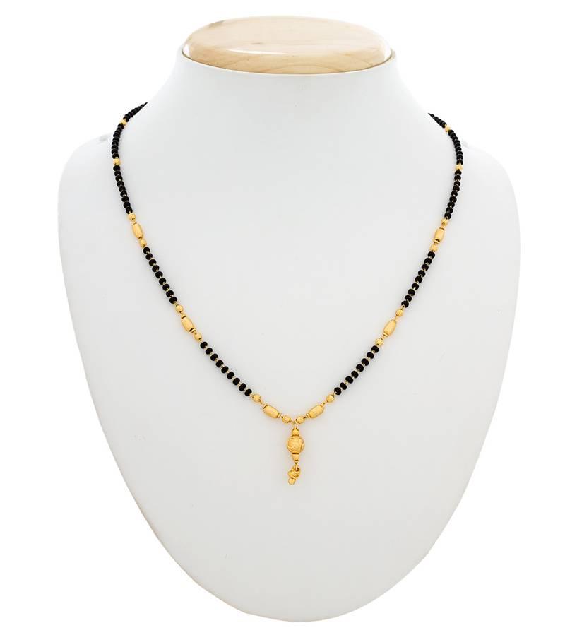 Kanjivaram Beads: Black And Golden Beads Mangalsutra