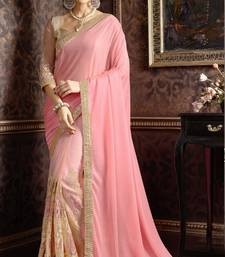 Buy Pink embroidered Lycra saree With Blouse party-wear-saree online