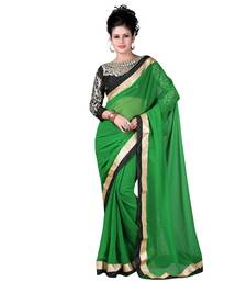 Buy Green embroidered Chiffon saree With Blouse designer-embroidered-saree online