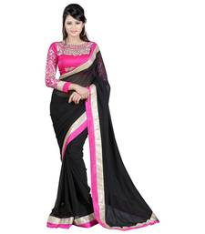Buy Black embroidered Chiffon saree With Blouse designer-embroidered-saree online