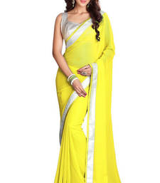 Buy Chiffon saree by Ravechi Fab (Yellow) designer-embroidered-saree online