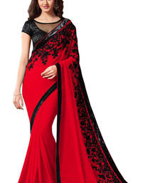 Buy Red embroidered Chiffon saree With Blouse designer-embroidered-saree online