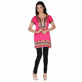 Pink american crepe printed stitched kurti