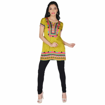 Green american crepe printed stitched kurti