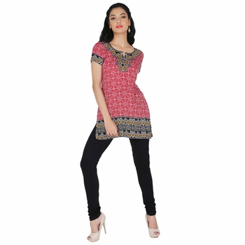 Red american crepe printed stitched kurti