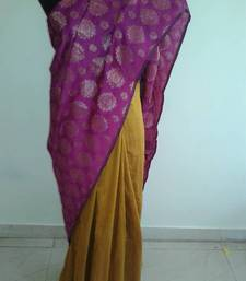 Buy mustard and pink saree silk-saree online