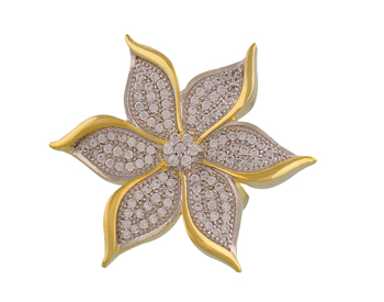 Classy Flower Shaped American Diamond Ad Stones Ring Gold Plated