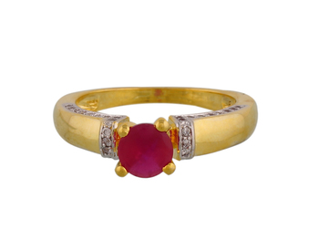 Stylish American Diamond Ad Stones Red Ring Gold Plated