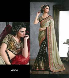 Buy dark_off_white embroidered georgette saree With Blouse brasso-saree online