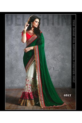 dark_green embroidered georgette saree With Blouse
