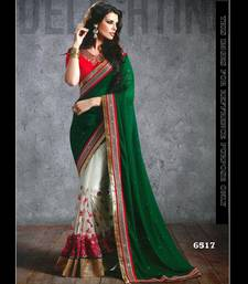 Buy dark_green embroidered georgette saree With Blouse brasso-saree online