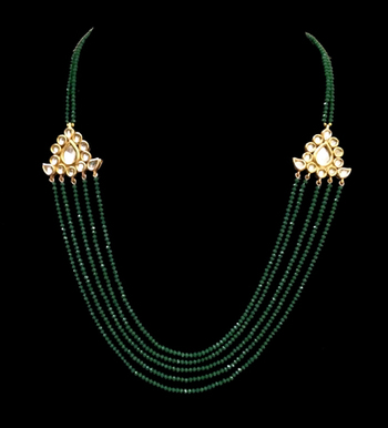 Emerald Green Crystals Kundan Multistrand Necklace