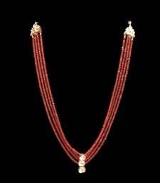 Buy Tangerine onyx stones and uncut kundan necklace Necklace online