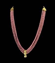 Buy Pink rose quartz stones and uncut kundan necklace black-friday-deal-sale online