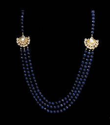 Buy Blue onyx stones and kundan multistrand necklace Necklace online