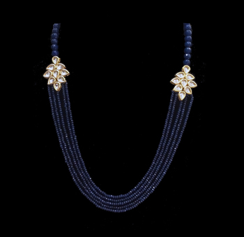 Blue Onyx And Kundan Flower Multistrand Necklace