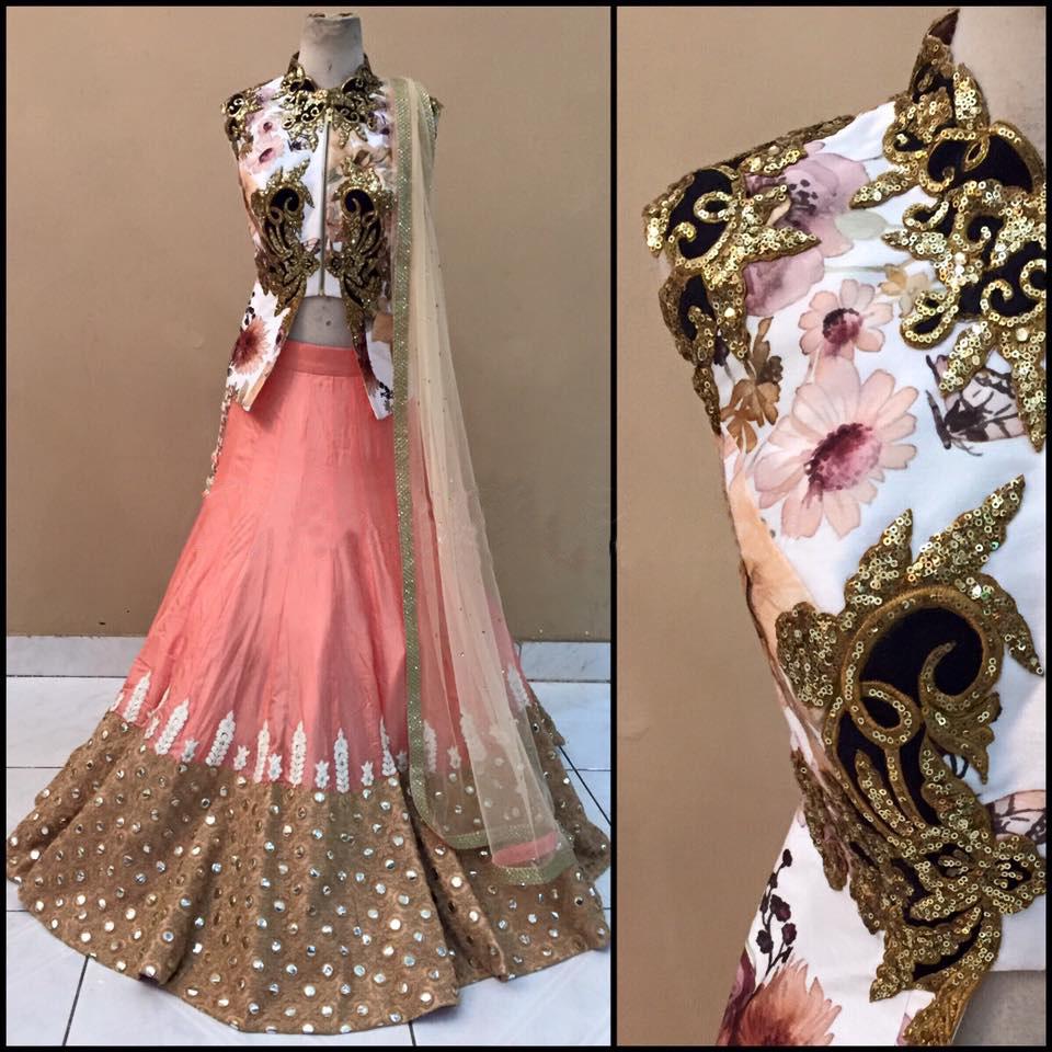 cb241dadf8 Pink and brown bangalori silk and brocade embroidered and mirror hand work  unstitched lehenga choli - ANJANI CREATION - 1181914