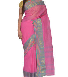 Buy Pink hand woven cotton saree handloom-saree online