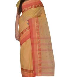 Buy Beige hand woven cotton saree handloom-saree online