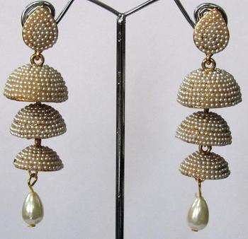 White pearl drop tripple jhumka earring