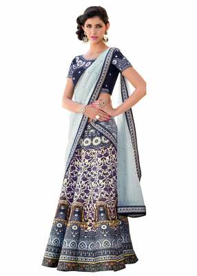 Gray art silk contrast pallu unstitched lehenga choli