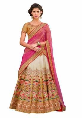 Pink art silk contrast pallu unstitched lehenga choli
