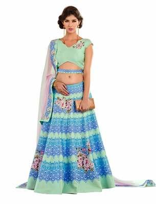 Green art silk contrast pallu unstitched lehenga choli
