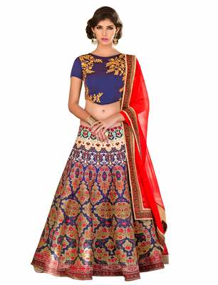 Blue art silk contrast pallu unstitched lehenga choli