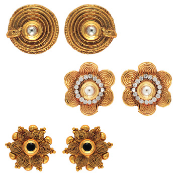 Traditional ethnic combo of mystic three earrings with crystals stones for women