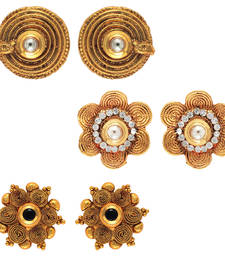 Buy Traditional ethnic combo of mystic three earrings with crystals stones for women jewellery-combo online