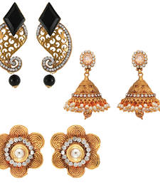 Buy Traditional ethnic combo of golden three earrings with crystals stones for women jewellery-combo online
