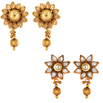 Traditional ethnic combo of stylish two earrings with crystals stones for women